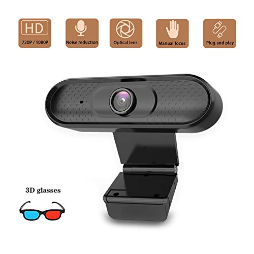 AZCSPFALB 720P 1080P HD Webcam con Micrófono Lente óptica De 5 Capas Exposición Automática Enfoque Manual USB Plug and Play, para Transmitir Conferencias De Juegos