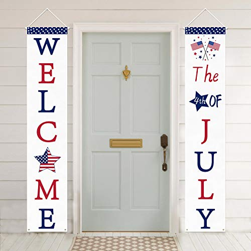 Mosoan 4th of July Decoration Patriotic Porch Sign - July 4th Porch Decorations - 4th of July...