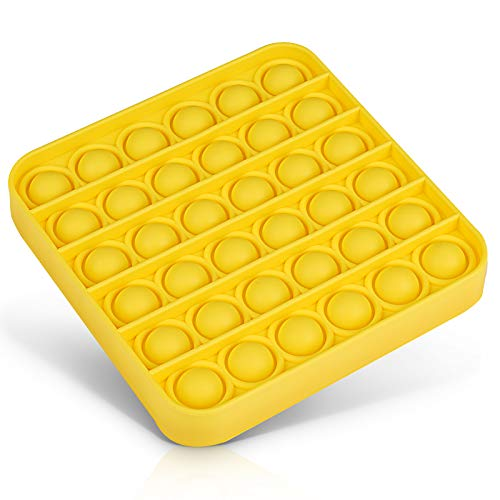 Push Pop Bubble Fidget Sensory Toy,Yellow Square Squeeze Sensory Toy for Office Stress and Anxiety Relief,Stress Reliever Toy for Kids.
