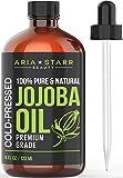 Aria Starr Jojoba Oil (4oz) - 100% Pure All Natural For Face, Hair Oil, Beard Oil, Hair Moisturizer, Dry Scalp Treatment - Excellent Carrier Oil For Aromatherapy Essential Oils