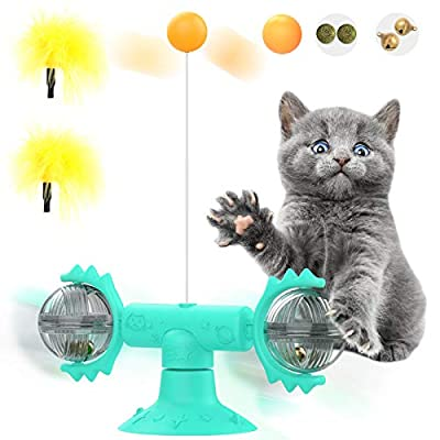 Pawaboo Windmill Cat Toy, Cat Feather Teaser wand toy with Suction Cup Turntable Teasing with Feathers and Catnips Ball-Interactive Flexible Cat Stick for Indoor Cats Kitten - Lake Blue