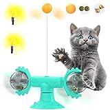 Pawaboo Windmill Juguete para Gatos, Palo de Pluma de Gato, Plato Giratorio con Ventosa, Palo de Gato Flexible Interactivo con Bola Adecuado para Gatitos de Interior - Lago Azul