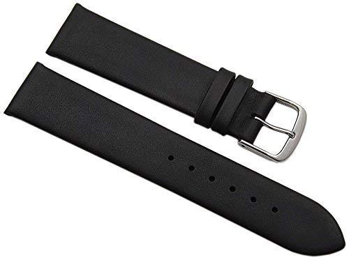 20mm Kalbsleder Uhrenarmband Made in Germany in Schwarz mit silberfarbender Dornschließe inkl. Myledershop Montageanleitung