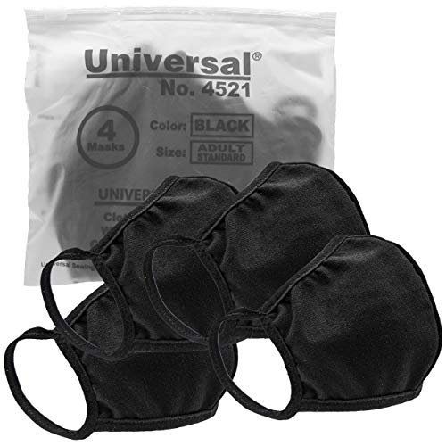 Universal 4521 Cloth Face Masks  Reusable Nose & Mouth Mask  100% Cotton, 2 Layer, Washable Facemask for Teens & Adults  Protects from Dust, Pollen, Pet Dander & More (Black, Medium)