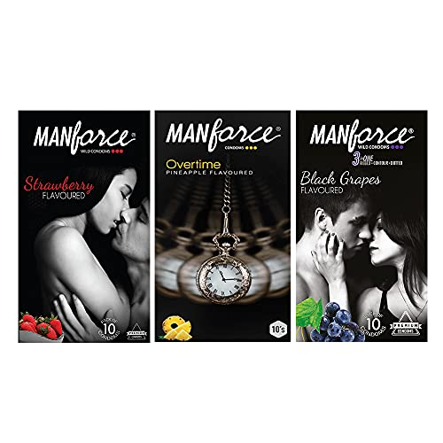 Manforce Condoms Combo Pack (3in1 Strawberry, 3in1 Black Grapes & Extra Dotted Pineapple Flavoured)- 10 Pieces (Pack of 3)