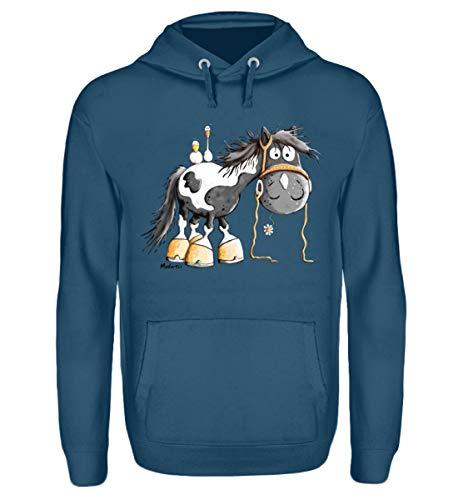 Happy Pinto Pferd Comic I Schecke Tinker I Modartis Pferde I Pony I Reiter Geschenk - Unisex Kapuzenpullover Hoodie -XL-Airforce Blue