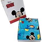 Albornoz con capucha original Disney Mickey Mouse Mickey Mouse de Mickey Mouse de los años 2 3 4 5 6 7 100 % rizo de puro algodón terciopelo niño (4/5 años)