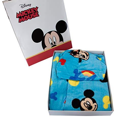 Peignoir à capuche original Disney Mickey Mouse Mickey années 2, 3, 4, 5, 6, 7, 100 % éponge de pur coton pour enfant (6/7 ans)