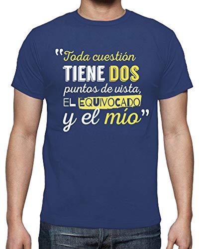 latostadora - Camiseta Puntos de Vista para Hombre Azul Royal L