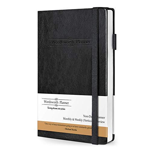 Wordsworth 2020 Planner (Non-Dated) Organizer Business Academic Journal-Weekly Monthly Yearly Planner-Thick Paper Pen Loop Inner Pocket- Improve Productivity Time Management & Hit Your Goals