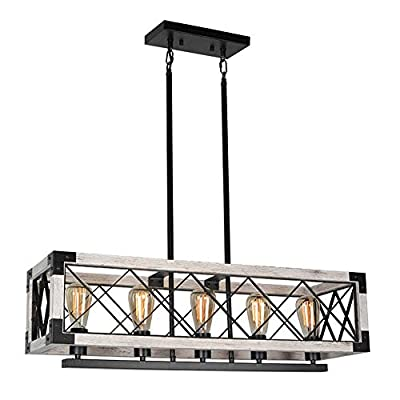 Baiwaiz Farmhouse Rectangle Kitchen Island Chandelier Lighting, Metal and Wood Rustic Dining Room Pendant Light Fixture Industrial Linear Cage Pool Table Bar Counter Light 5 Lights Edison E26 142