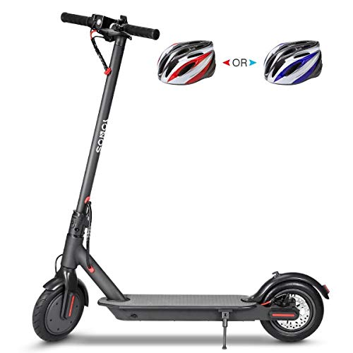 "YONOS Electric Kick Scooter, 8.5"" Tires 350W Motor, 16 Miles Range & 15.5mph Speed Max, LED Headlight & Display, Portable Folding Easy Carry EBike for Adult, UL Certified, W/Helmet, Black"