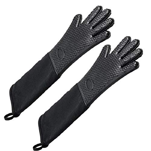 Extra Long Professional Silicone Oven Mitts with Quilted Liner, Heat Resistant Oven Gloves,1 Pair