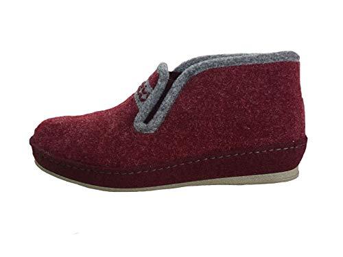 Schawos Damen Hausschuh Bordo rot Schurwolle von Größe 37 bis 42, Damen Größen:39, Farben:rot