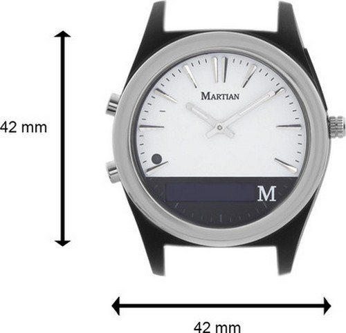 Martian MN200WBW Notifer Fashion Smartwatch with Text and App Alerts (iOS and Android Compatible) White