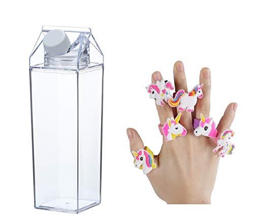 Tigor Milchkarton-Wasserflasche – transparente Flasche – Milchbox Kunststoff Saft Flasche – 500 ml + 2 niedliche Einhorn-Ringe (Stil 5)