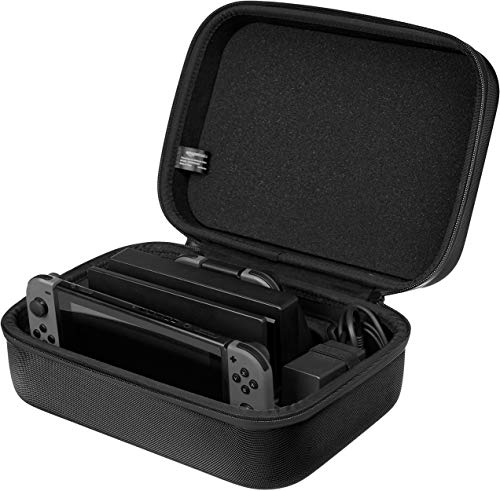 AmazonBasics Hard Shell Travel and Storage Case for Nintendo Switch - 12 x 4.8 x 9 Inches, Black
