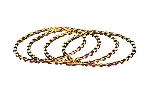 GemsOnClick Unique Beautiful Pink CZ Ruby Manik Round Shape for Women Kada Handcrafted Fashion Jewellery Sets of Four Bangles Traditional Golden Indian Chudi Gifts for Mothers VBL 20~10~RED