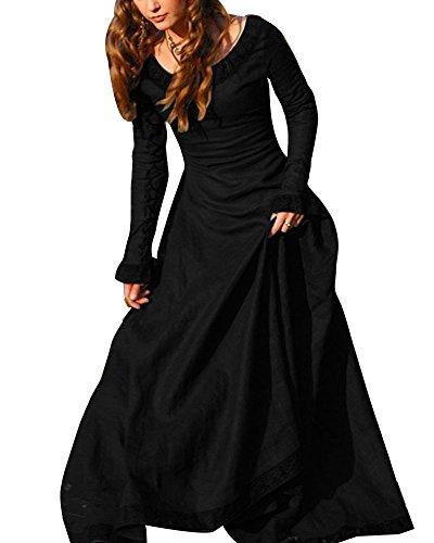 ORANDESIGNE Vestito Medievale Donna Vovotrade Costume Cosplay Principessa Vestito Gotico Rinascimentale Nero IT 38