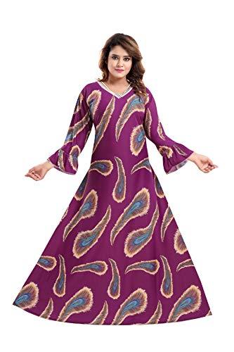 TUCUTE Women's Sarina Print with Long Sleeves Maxi Full-Flare Nighty...