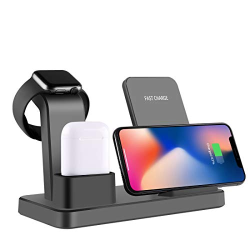 DINGXUEMEI Xuemei Caso Cargador portátil inalámbrico Q12 3 en 1 Cargador rápido inalámbrico for el iPhone de Apple Seguir for AirPods y Otros teléfonos Inteligentes Android (Negro) (Color : Grey)