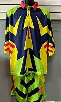 Soccer Jorge Campos Jersey/Purple/Yellow/Pink Manga 3/4 seleccion Size 4XL