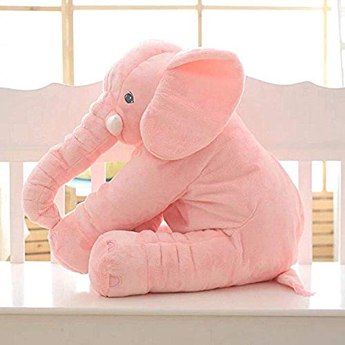 H.BABY Soft Stuffed Elephant Shape Plush Cotton Cushion Pillow for Baby(Pink)