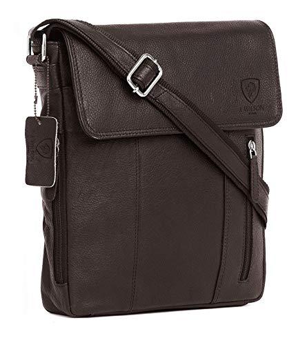 100% Pure Genuine Real Vintage Hunter Leather Handmade Mens Women Leather Flapover Everyday Crossover Shoulder Work iPad Messenger Bag (Brown)