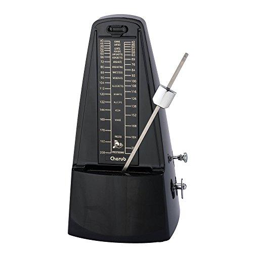 Mechanisches Metronom Pyramide mit Plexiglasdeckel, Pendel mit einem lauten, klaren Klick, Mit Glocke Traditional Black