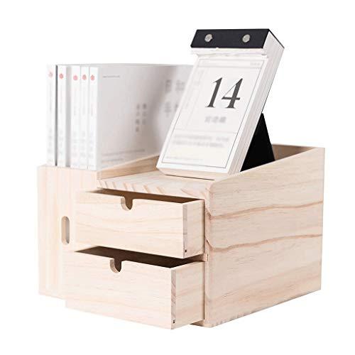 Ablageboxen Natürliche Kiefern Desktop-Bücherregal Thekenbücherregal mit 2 Schubladen Schreibtisch-Speicher-Organisator-Anzeigen-Regal-Rack for Bürobedarf Küche Badezimmer Make-up Ablagesystem für den