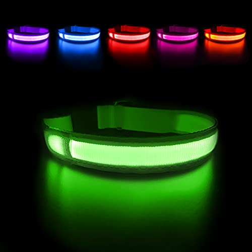 MASBRILL LED Dog Collar,Night Light Up Collar Dog DC Rechargeable Waterproof Durable Glowing Dog Collar 4 Colors for Choice