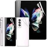 Miimall 3 Stück Schutzfolie Kompatibel mit Samsung Galaxy Z Fold 3 2021 Bildschirmschutzfolie [Vorder & Rückseite], Fingerabdruckerkennung auf dem Display Blasenfreie Weich TPU Bildschirmschutzfolie