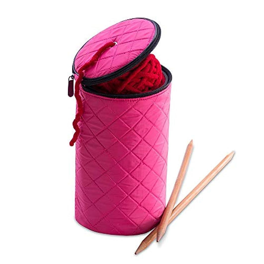 DeNOA Knitting and Sewing Yarn Drum Holder - Quilted Design Wool Storage Organizer - Bubblegum