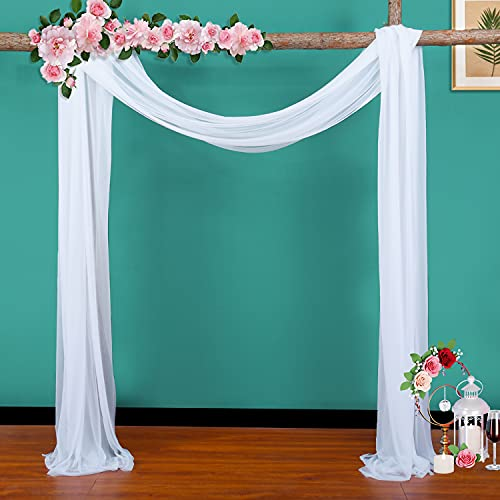 Wedding Arch Drape White Fabric Backdrop Drapery for Bridal Ceremony Party Celebration Backdrop Decoration