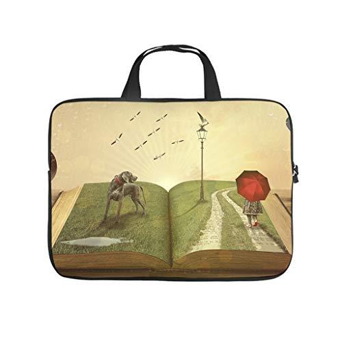 fantasy book birds dog fantasy Laptop bag Design Laptop Case Bag vintage Scratch-Resistant Notebook Carrying Case with Portable Handle for Women Men white 15 zoll