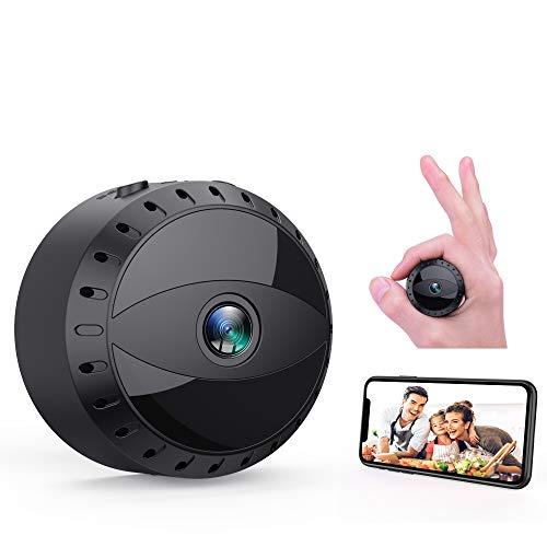 Mini Cámara Espía WiFi, Tesecu Cámara Oculta de vigilancia inalámbrica HD 1080P Videocámara Portátil con visión...