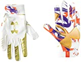 Under Armour Boys' F7 Youth Limited Edition Football Gloves , White (104)/Metallic Faded Gold , Youth Small