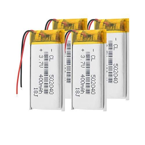 TTCPUYSA Batería del PolíMero del ión De Litio De 3.7v 400mah 502040, Recargable para El Registrador De Conducción De Los GPS De Mp3 Mp4 4pieces