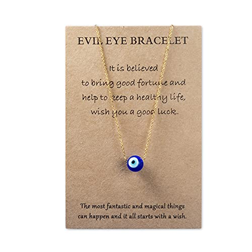 VGWON Malocchio - Collar con cadena de ojos azules con colgante de Ojo Protección Turca Kabbalah ajustable delicado regalo para mujeres y niñas,