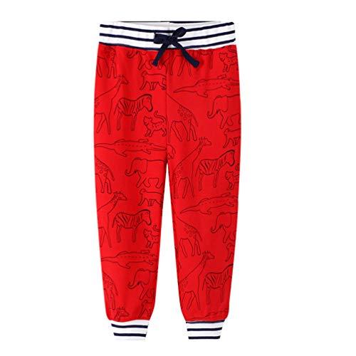 YoungSoul Jungen Jogginghose Tierdruck Freizeithose Sweathose Kinder Sporthose Jogger Hose, Rot, 110-116/Größe 6T