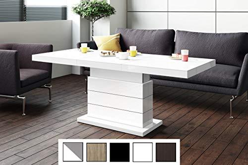 Design Couchtisch Matera Lux H-333 Weiß Hochglanz höhenverstellbar ausziehbar Tisch Esstisch