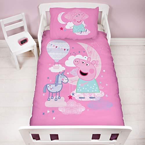 Character World Peppa Pig Cot Bed Duvet Cover | Magical Dreams Unicorn Pink Design | Children's Kids Bedding Set & Pillowcase