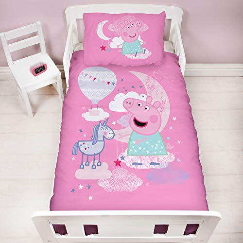 Character World Official Peppa Pig Cot Bed Duvet Cover | Magical Dreams Unicorn Pink Design | Children's Kids Bedding Set & Pillowcase