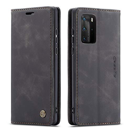QLTYPRI Hülle für Huawei P40 Pro, Vintage Dünne Handyhülle mit Kartenfach Geldtasche Standfunktion PU Ledertasche TPU Bumper Flip Schutzhülle Kompatibel mit Huawei P40 Pro - Schwarz