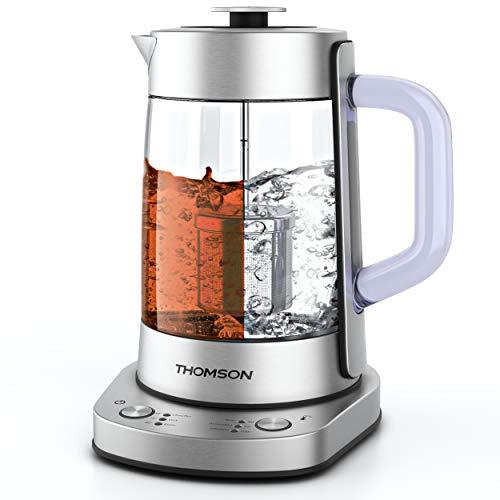 Thomson 2-in-1 Elektrischer Wasserkocher mit elektronischer Temperaturkontrolle, 1,7 l, 2000 W, Edelstahl