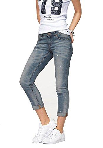 Arizona Damen Jeans Jeanshose 7/8 Slim fit Farbflecken (36, Blau)