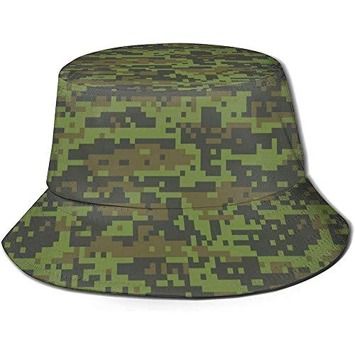Unisex Bucket Hat Green Digital Urban Camo Impreso Outdoor Sun Hat Summer Travel Outdoor Cap