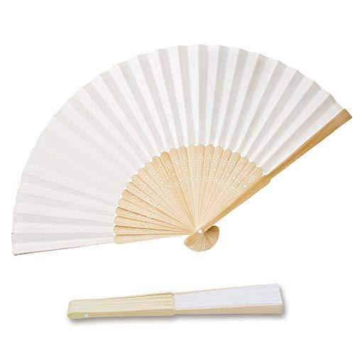 OLILLY 50 x Ventagli di Carta Bianca e bambù per Matrimoni (Bianco, 50 ventagli)
