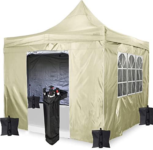 Dawsons Living Waterproof Deluxe Commercial Outdoor Gazebo with Sides - New Model Zipped Sides - 3m x 3m Heavy Duty Pop Up Outdoor Garden Shelter - Travel Bag and 4 Leg Weight Bags (Beige)