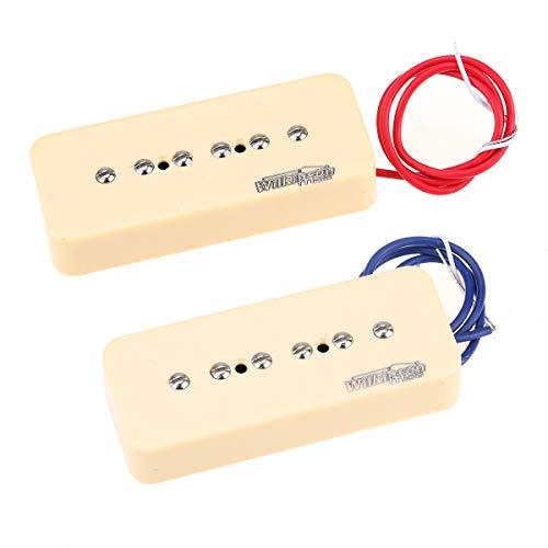 Wilkinson Low Gauss Iconic Sound Cerámica P-90 Soapbar Pastillas de Bobina Simple Pickups Set para Guitarra Eléctrica SG/LP, Crema